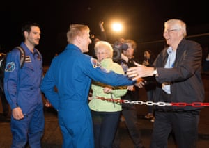 Cologne, Germany: Major Tim Peake greets his parents after returning from the ISS