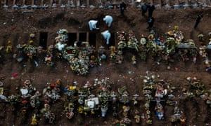 Aerial view showing a burial of a victim of Covid-19 at the General Cemetery in Santiago, Chile, on 15 June, 2020.