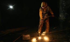 A worker in South Crofty tin mine