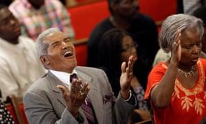 Parishioners sing