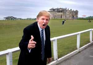 Trump at St Andrews golf course, announcing his plans to build a new golf course on the Menie Estate north of Aberdeen