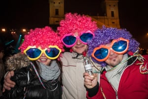 New year revellers in Hungary.