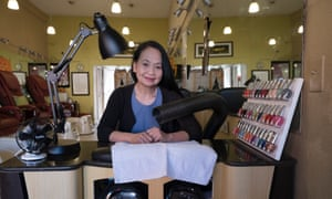 Leann's Nails owned by Lan Anh Truong sits at the workstation where the vacuum house used to collect toxic fumes from materials used in the nail salon.