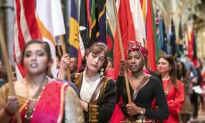 Flag bearers carrying the flags of the Commonwealth walk through Westminster Abbey the Commonwealth Service attended by members of the Royal family at Westminster Abbey in London, Monday, March 11, 2019. Commonwealth Day has a special significance this year, as 2019 marks the 70th anniversary of the modern Commonwealth - a global network of 53 countries and almost 2.4 billion people, a third of the world's population, of whom 60 percent are under 30 years old. (Richard Pohle/Pool Photo via AP)