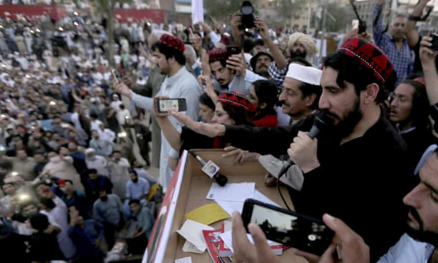 Manzoor Pashteen speaks to supporters in Lahore.