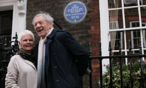 Judi Dench with Sir Ian McKellen after the plaque unveiling at Cowley Street, Westminster, commemorating Sir John Gielgud.