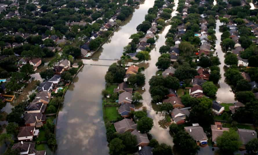 Houses partially submerged in flood waters in north-west Houston.