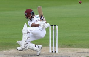 Dowrich evades a bouncer from Woakes.