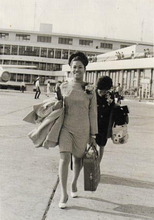 Looking a million dollars ... Mae Appleton pictured arriving from the Philippines in 1969.