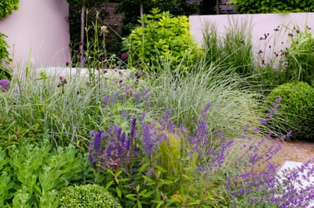 Ethereal planting emphasises the straight lines of hard landscaping.