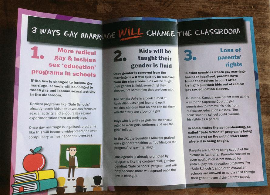 Anti-same sex marriage pamphlet.