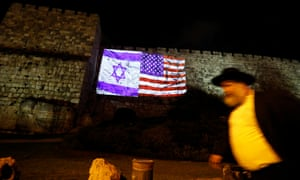The US and Israeli national flags projected on the wall of Jerusalem's Old City on Wednesday.