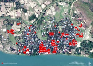 Satellite image recorded on May 14, 2020 showing approximately 140 buildings affected by fire in Tin Ma, Rakhine State that likely occurred between March 22 and 23, 2020. The damages reported are most likely an underestimate as internal damage is not visible. Damage analysis by Human Rights Watch