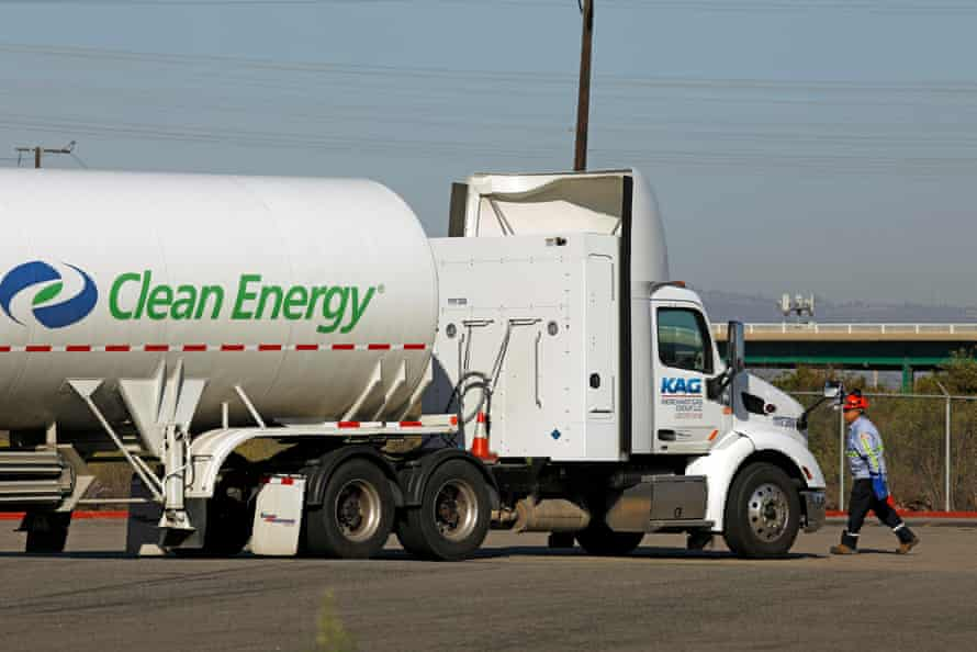 A man arrives to transfer natural gas from his truck to a natural gas fueling station near the border between the Port of Los Angeles and the Port of Long Beach, which is owned and operated by Clean Energy Fuels.