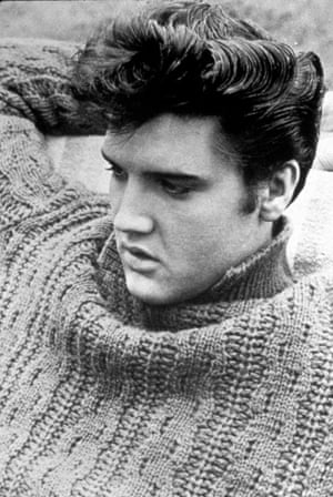 Elvis Presley between the takes of 'swimming-pool sequence' of 'Jailhouse Rock' (1957).