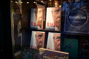 Rage, a portrait of Donald Trump by the Watergate reporter Bob Woodward, is on display in the window