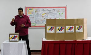 President Nicolas Maduro casts his vote during the presidential elections in Caracas on Sunday.