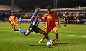 Liam Palmer (left)on the attack during Sheffield Wednesday's third-round win against Luton Town.