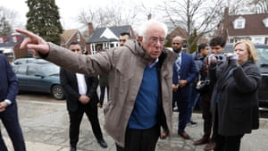 Bernie Sanders visits a polling location at Warren E. Bow Elementary School in Detroit.