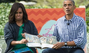 Inappropriate behaviour … Barack and Michelle Obama read Maurice Sendak's Where the Wild Things Are to children at the White House Easter Egg Roll.