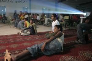 Carpet seating at the FiSahara festival.
