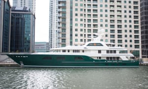 Robert Mercer's Sea Owl superyacht at Canary Wharf in London