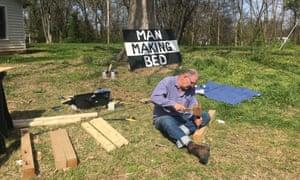 Bill Drummond tries a spot of carpentry.