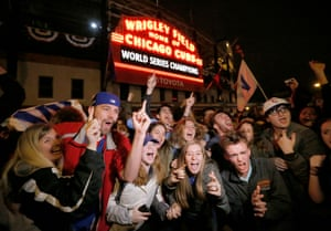 Cubs fans celebrate outside Wrigley Field back in Chicago