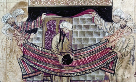Detail from a 14th-century illumination showing Muhammad rededicating the Black Stone of the Kaaba at Mecca.