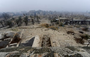 Damage to Aleppo's historic citadel seen from the air