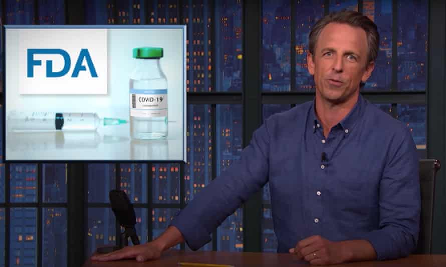 """Seth Meyers on the FDA approval of Pfizer's Covid-19 vaccine, now known as Comirnaty: """"What's up with Comirnaty? Did the approval catch Pfizer so off guard that they yelled out a name before they were ready?"""""""