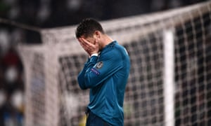 Ronaldo reacts after missing a chance.