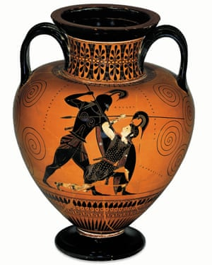 Achilles kills Penthesilea in a scene on an amphora, circa 530BC.
