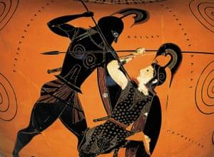 Amphora, c530BC (detail), showing Achilles killing Penthesilea.