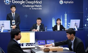 The fourth showdown between Lee Se-dol (right) and AlphaGo, the artificial intelligence designed by Google's London-based firm DeepMind, in 2016.