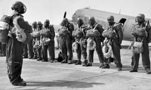 African American paratrooper smokejumpers in Oregon in 1945.