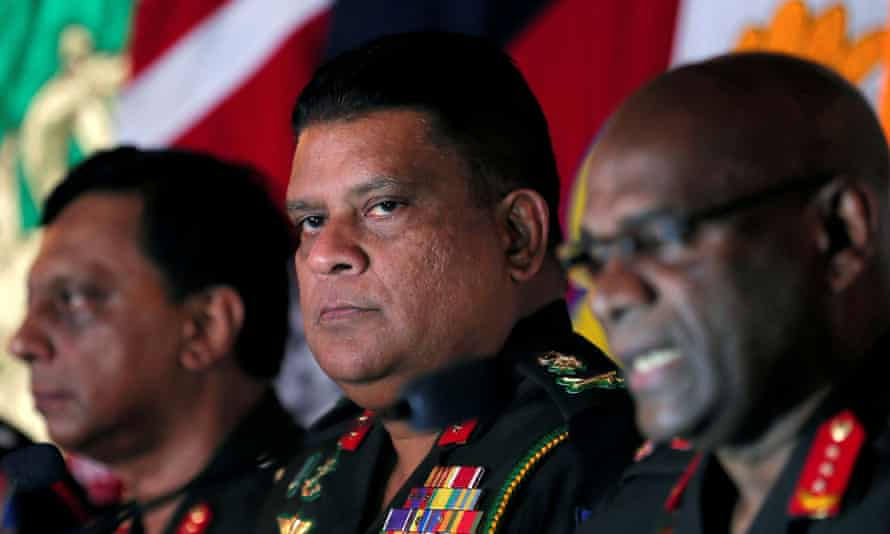 Shavendra Silva, centre, last year. Silva's promotion to army chief in January 2019 triggered widespread outrage.