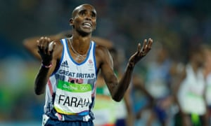 Mo Farah celebrates after victory in the men's 5,000m at the 2016 Olympics in Rio de Janeiro, Brazil