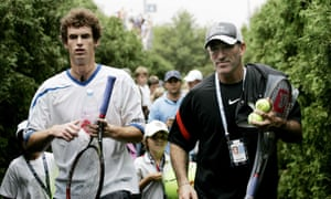 Murray with coach Brad Gilbert at the 2006 US Open. Gilbert felt the rough end of Murray's tongue