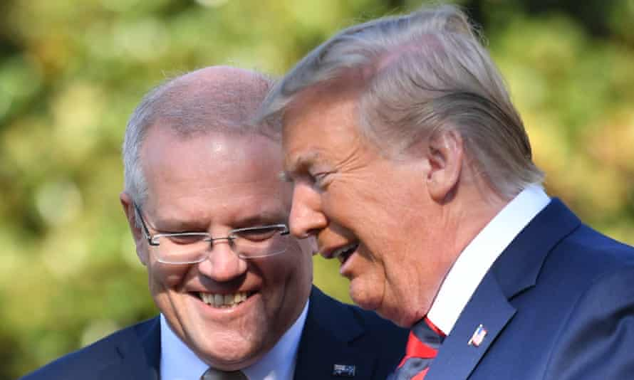 Donald Trump and Australia's prime minister Scott Morrison at the White House in September 2019. Unlike many world leaders, Morrison has declined to condemn Donald Trump's role in inciting the mob insurrection in Washington DC.