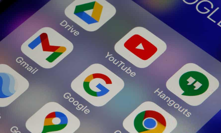 File photo illustration of the logos of Google applications displayed on a smartphone screen