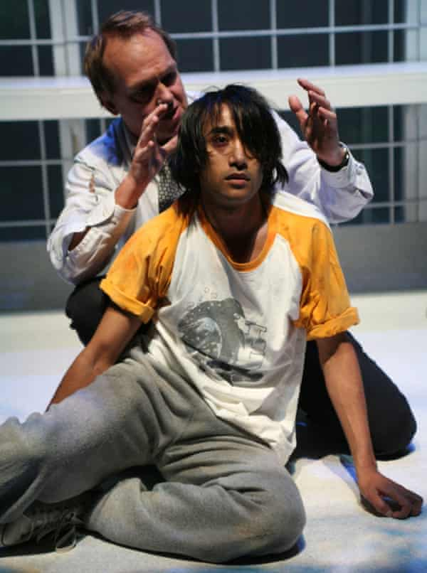 Rhik Samadder in the RSC production of The Indian Boy, with Christopher Fulford, in 2006.