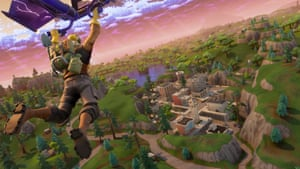 another Fortnite player drops in.