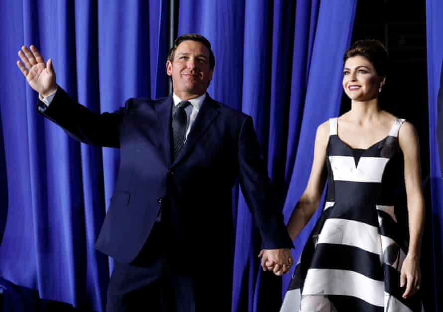 Ron DeSantis with his wife Casey. DeSantis has outlined a major plan to rescue the Everglades.