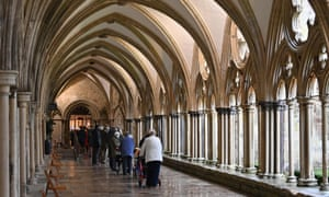 People queuing today for the vaccination centre set up inside Salisbury cathedral.