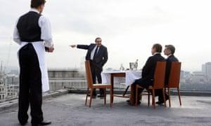 David Suchet as Robert Maxwell (centre) in the BBC 's 2007 drama Maxwell, written by Craig Warner.