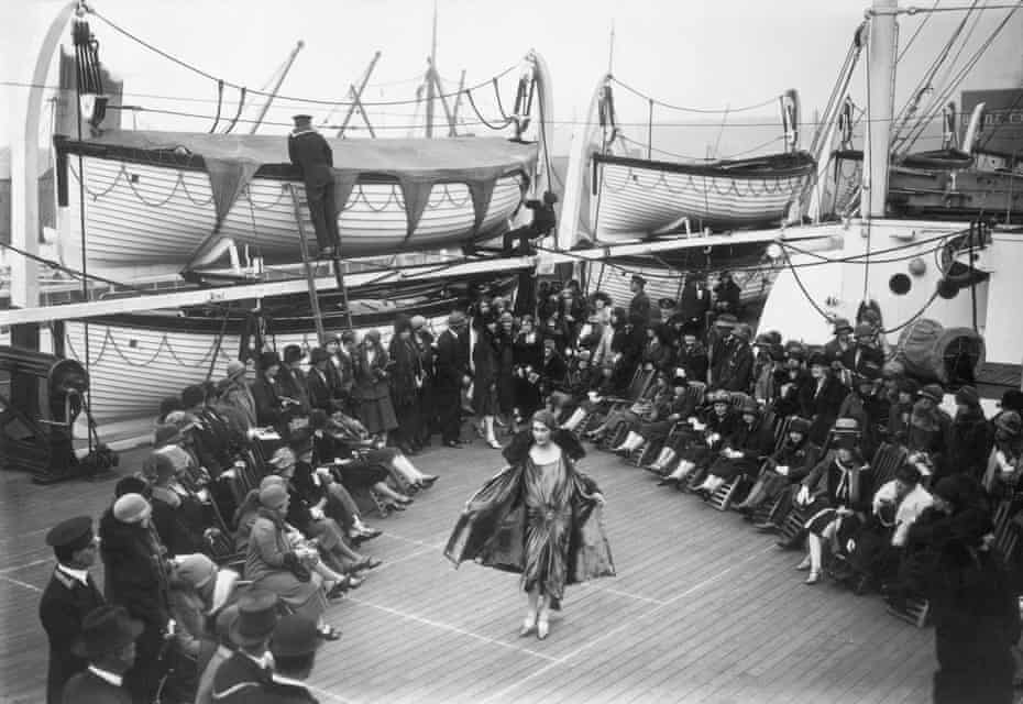 Upper Deck Show: A catwalk parade held aboard the Cunard liner Franconia during Liverpool's Civic Week