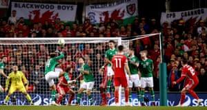 Wales' Harry Wilson curls in the free-kick.