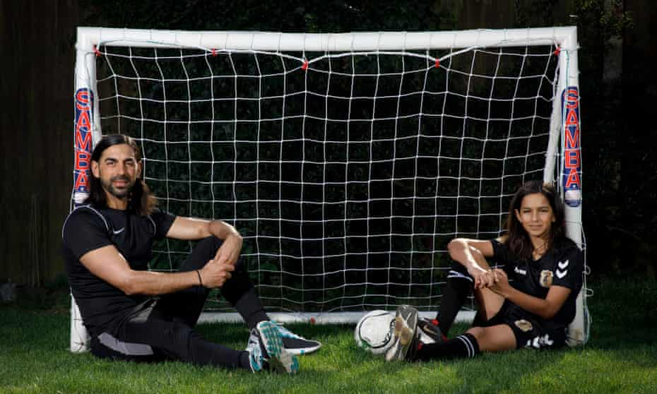 Ram Marwa alongside his 13-year-old son, Bjorn, who is at Chelsea's academy and taking part in Asian mentoring sessions run by the Professional Footballers' Association