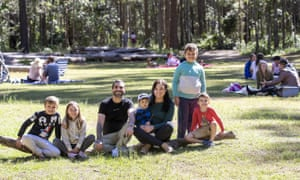 Family Lucas Trad, Sophia Lees, Steven Trad, Archie Tradd, Stephanie Hoppe, Joseph and Mason Trad at Daisy Hill forest in Brisbane, on Saturday.
